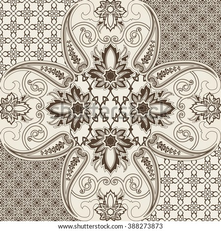 Seamless with oriental motif. Patchwork background with paisley and flower. Set of pattern with filigree ornaments. Vector illustration - stock vector