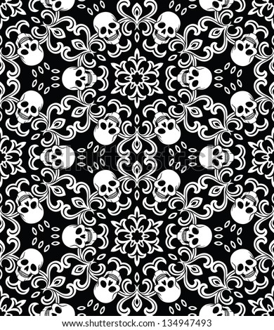 Seamless with skulls - stock vector