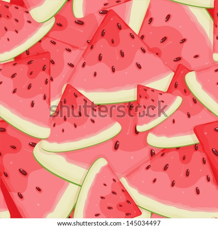 Seamless with the slices of watermelon - stock vector