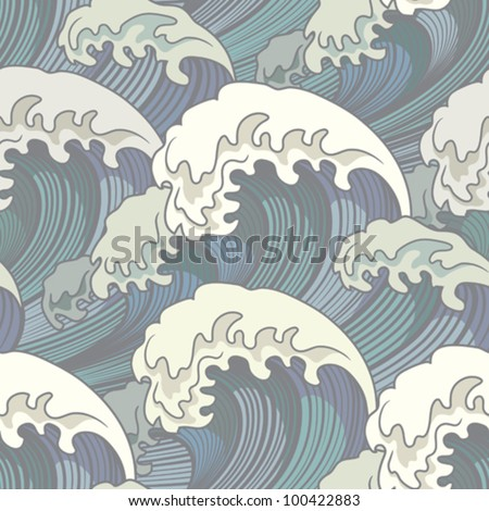 seamless with waves - stock vector