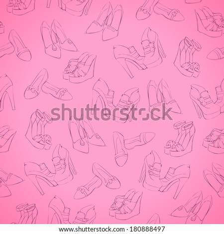 Seamless woman's modern shoes sketch pattern background vector illustration - stock vector
