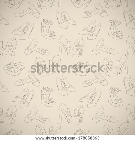 Seamless woman's stylish shoes sketch pattern background vector illustration - stock vector