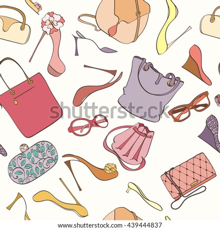Seamless women fashion pattern can be used for wallpaper, website background, wrapping paper. Fashion women bag and shoes vector bright pattern. Bag and high heels design. Fashion concept. - stock vector