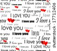 """Seamlessly vector wallpaper valentine with hearts and superscription """"I love you"""" - stock vector"""
