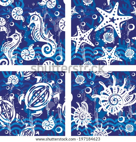 Seampless patterns with sea symbols - stock vector
