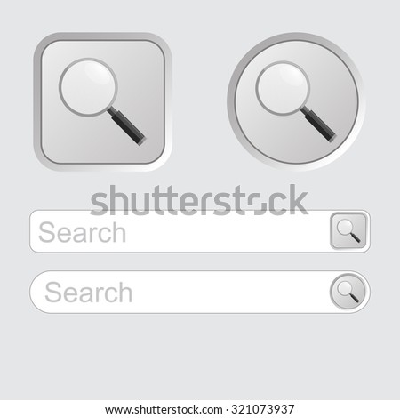 Search button, icon isolated on grey background - stock vector