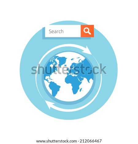 Search concept address bar with globe icon and magnify glass on button in flat design style - stock vector