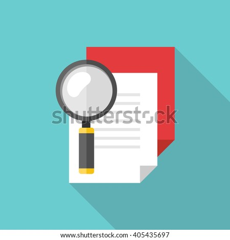 Search document flat icon with long shadow. Vector illustration - stock vector