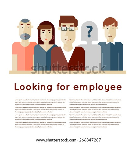 Search employee for team. Looking for an employee. Find candidate. Finding professional staff. Human resources management. Flat design vector illustration. - stock vector