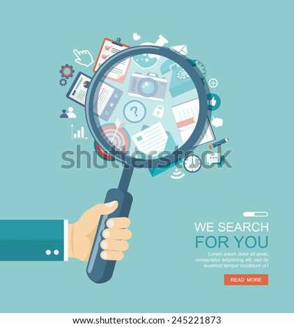 Search engine flat illustration with magnifying glass. Eps10 - stock vector