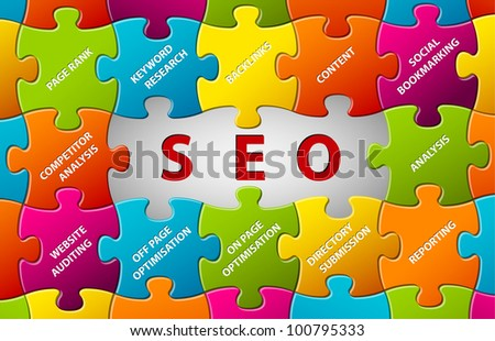 Search Engine Optimization Abstract vector puzzle background - stock vector