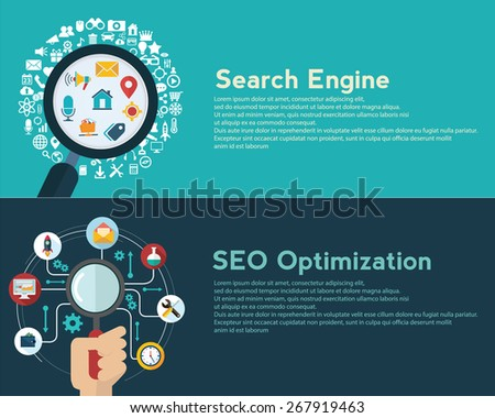 Search engine optimization. Data finding. Content analyzing. seo optimization. SEO concept. web banner - stock vector
