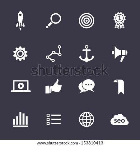 Search engine optimization, internet marketing icons. Clean vector icons on black - stock vector