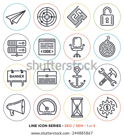 Search engine optimization line icons set. Vector collection of search engine marketing symbols. - stock vector