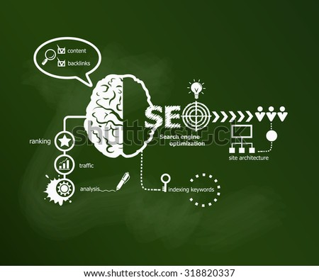 Search engine optimization. SEO Internet concept. Hand writing SEO with chalk on green school board - stock vector