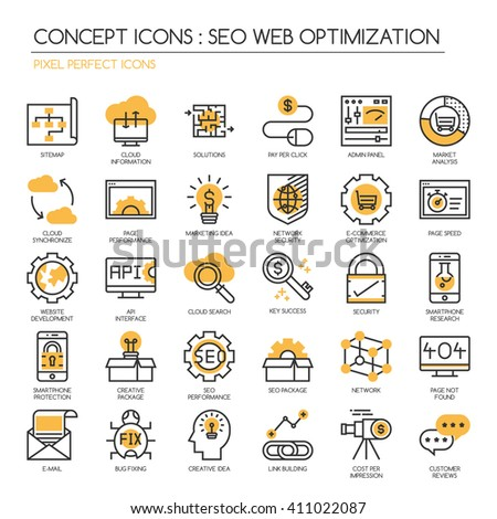 Search engine optimization , thin line icons set ,Pixel Perfect Icons - stock vector