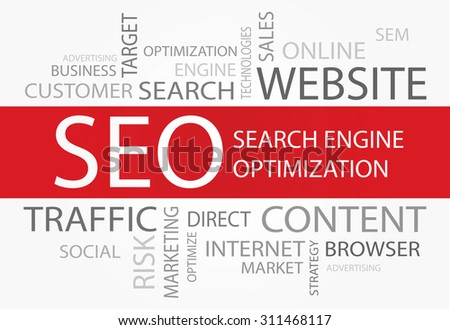 Search Engine Optimization words concept - stock vector