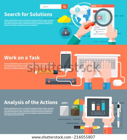 Search for solutions infographic. Concept of businessman using mobile phone for internet browsing, email correspondence and other business task. Analytics information and process of development - stock vector