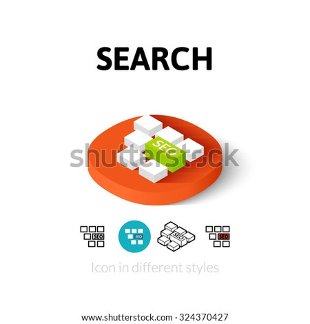 Search icon, vector symbol in flat, outline and isometric style - stock vector