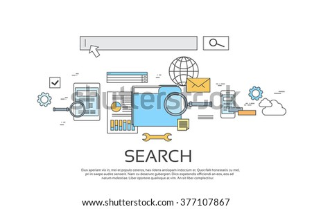 Search Information Online Internet Technology Banner Icon Vector Illustration - stock vector