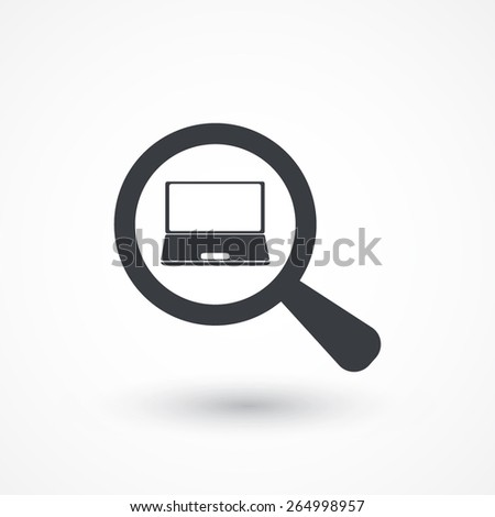 Search. Laptop and magnifying glass in white background - stock vector