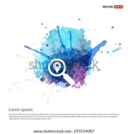 search location icon - abstract logo type icon - Blue water color Paint splash beautiful background. Vector illustration - stock vector