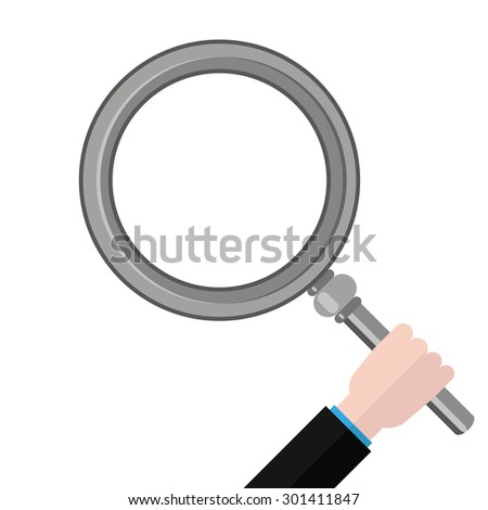 Search loupe in hand - vector illustration background - stock vector