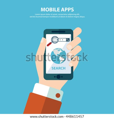 Search mobile application development or smartphone app programming. Interface elements for mobile apps concepts. - stock vector