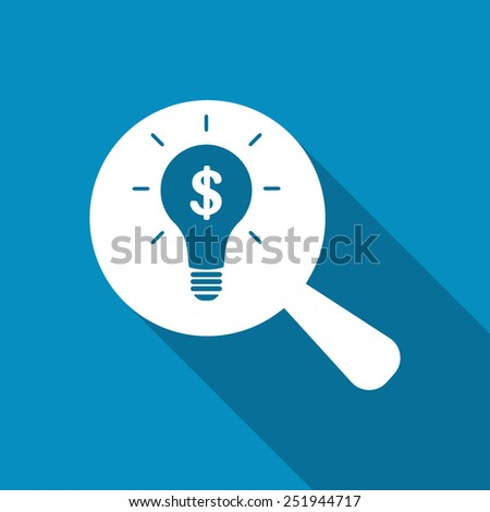 Search money idea. Flat icon design with long shadow - stock vector