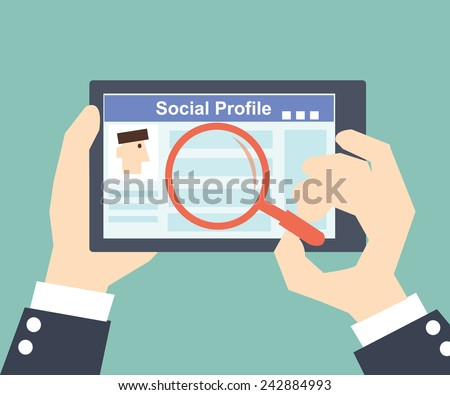 Search Social Profile -Tablet with social network - stock vector