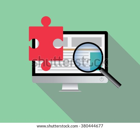 search solution via online browsing browse internet in a computer pc computer vector - stock vector