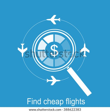 search the airline tickets on computer flat vector icon - stock vector
