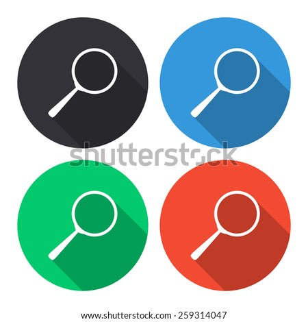 Search vector icon - colored(gray, blue, green, red) round buttons with long shadow - stock vector