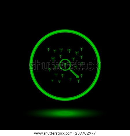 Search wi-fi network   green circle on a black background, vector, EPS 10 - stock vector