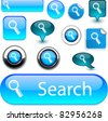 Searching blue vector glossy icons. - stock vector
