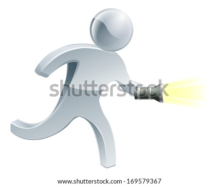Searching flashlight man looking for something with a torch - stock vector