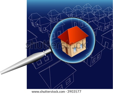 searching for house - stock vector