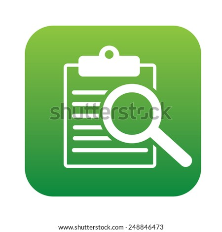 Searching on green flat button,clean vector - stock vector