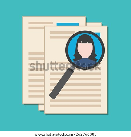 Searching professional staff, analyzing resume, recruitment concept. Flat design stylish. Isolated on color background - stock vector