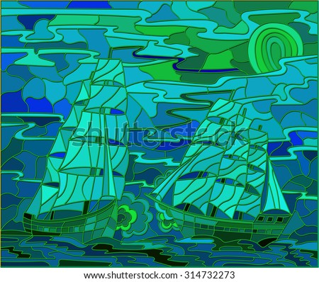 Seascape in the stained glass style battle with two sailboats in the sky and  sunset - stock vector