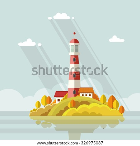 Seascape. Lighthouse on the island on a background of clouds. Flat vector illustrations - stock vector
