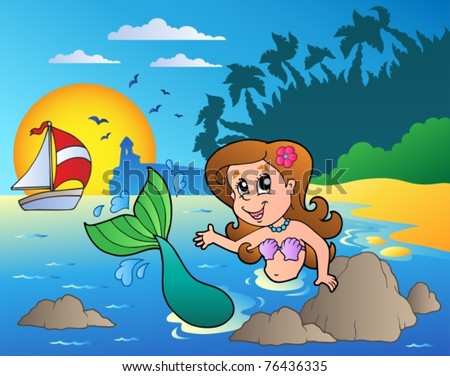 Seascape with swimming mermaid - vector illustration. - stock vector