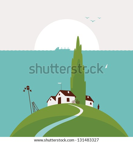 seascape with the countryside and poplar trees on the hill - stock vector