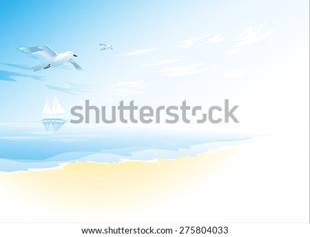 Seascape with wavy sea surface,cloudy sky, flying seagull. Tropical landscape - stock vector