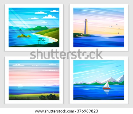 Seascapes. Set of Vector illustration.  Tropical islands, lighthouse, sand beach, sailing in the sea, mountains, sunset, dawn, day. Flat style illustration on sea theme. - stock vector