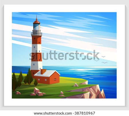 Seascapes. Vector illustration. Lighthouse, rock, house, sea shore, tree. Flat style illustration on sea theme. - stock vector