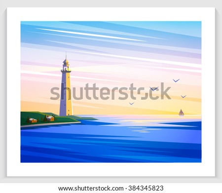 Seascapes. Vector illustration. Lighthouse, sand beach, sailing in the sea, sunset, dawn, day. Flat style illustration on sea theme. - stock vector