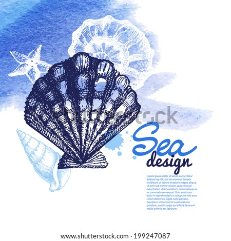 Seashell background. Sea nautical design. Hand drawn sketch and watercolor illustration - stock vector