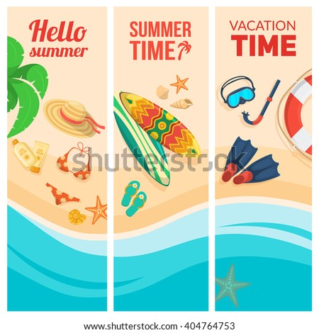 Seaside beach and tourist things. Vacation travel background. Easy to edit design template. - stock vector
