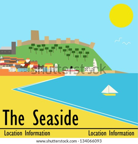 Seaside town, vector landscape in a deco style, based upon Scarborough, UK - stock vector